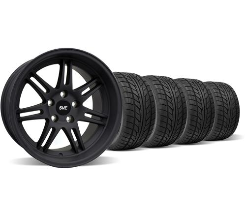 1994-04 Mustang Flat Black SVE Anniversary Deep Dish Wheel & Nitto Tire Kit - 17X9/10